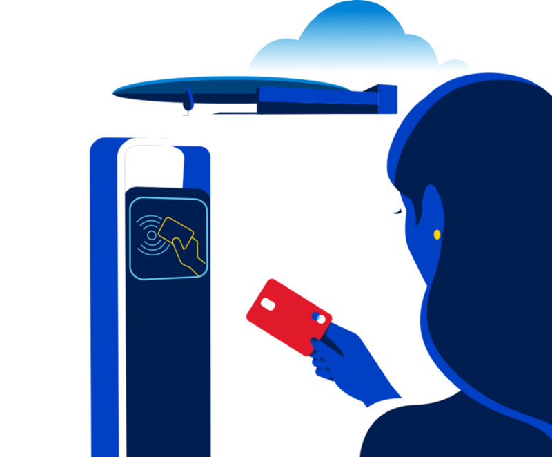 Illustration of a charging station that allows you to pay with a charge card.