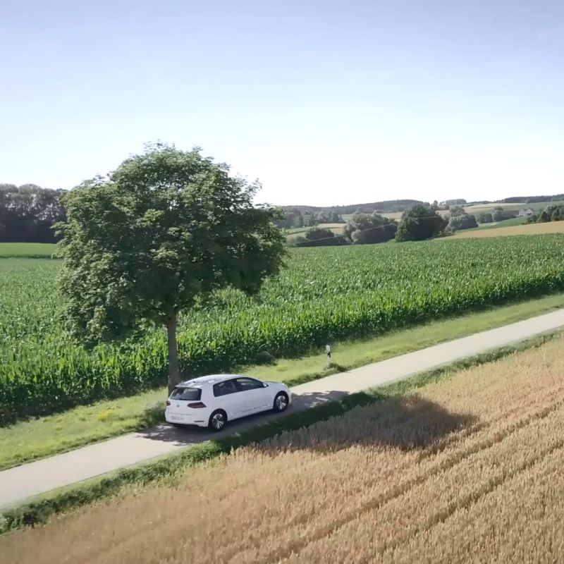 e-Golf driving on a road in the countryside
