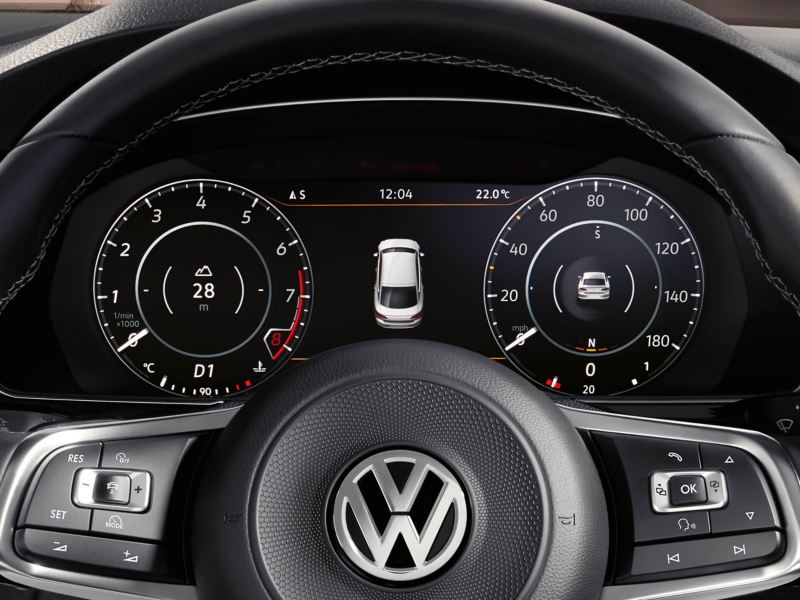 Dashboard and steering wheel shot of the Volkswagen Arteon.