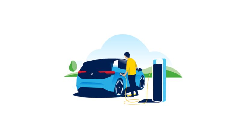 Connecting the cable to an electric vehicle