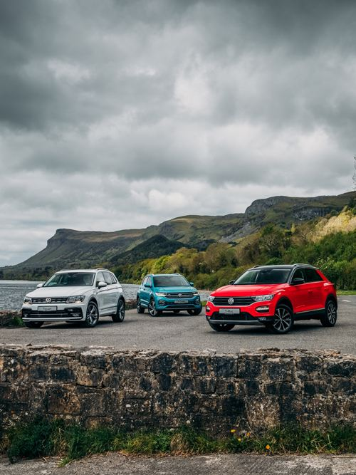 VW SUV's gathered by the coast
