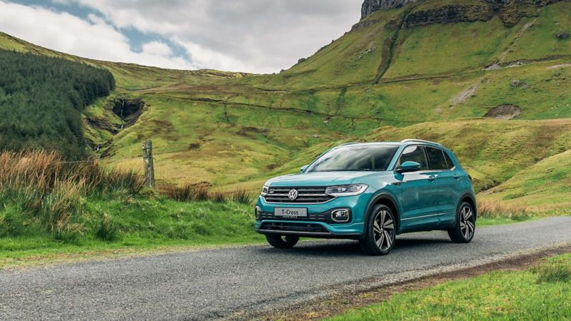 VW T-Cross on a country road