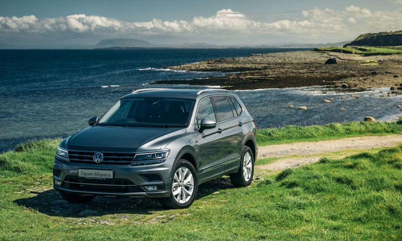 VW Tiguan Allspace by the coast