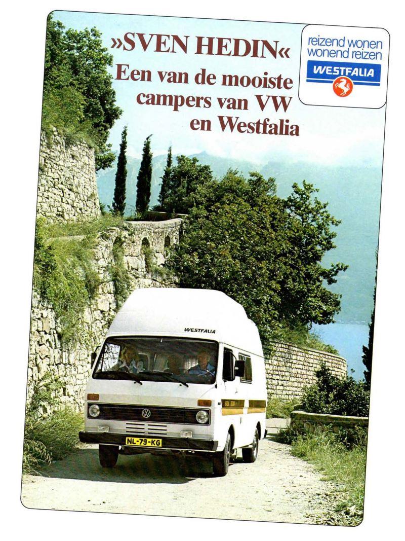 En försäljningsbroschyr från tillverkaren Westfalia – 1977 var Sven Hedin det hetaste på marknaden