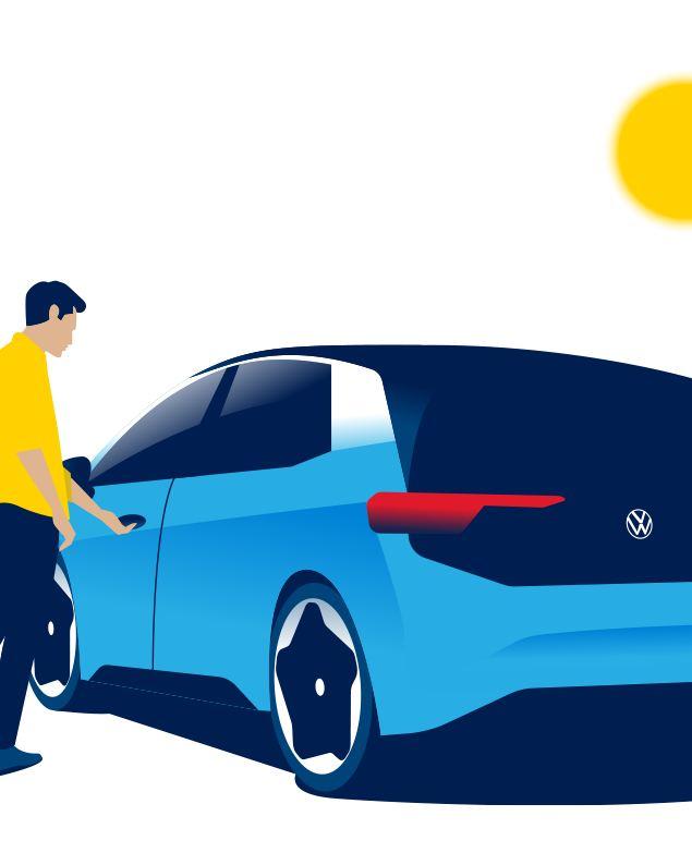 Un uomo apre la portiera della Volkswagen ID.3