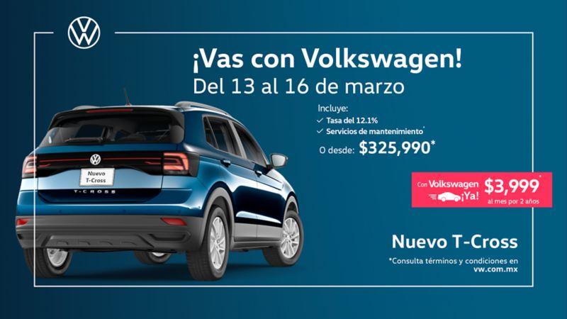 Nuevo T-Cross, el SUV urbano a precio especial en promociones de Marzo de Volkswagen México