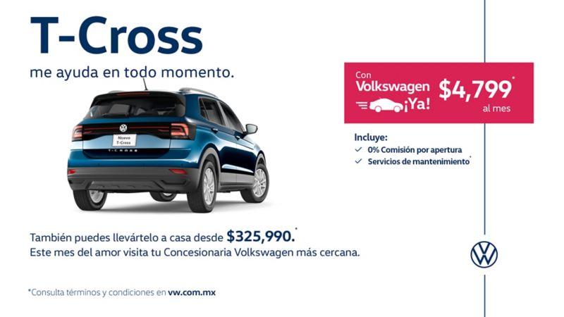 SUV T-Cross 2020, el mejor SUV para ciudad, disponible en ofertas de febrero de Volkswagen