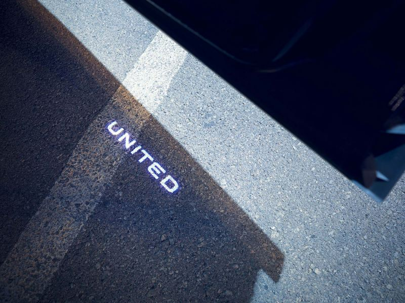 Projected UNITED logo T-roc UNITED feature
