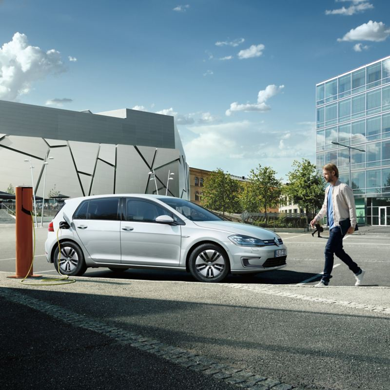 The e-Golf charging at a charging station