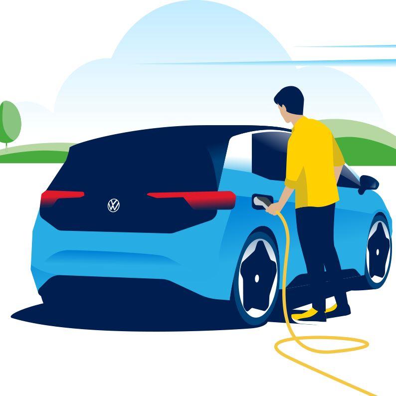 Une femme chargeant son véhicule électrique