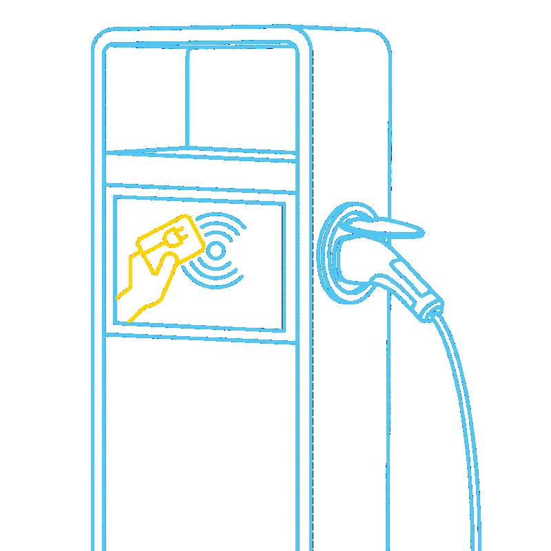 Borne de recharge à laquelle il est possible de payer avec une carte de recharge.