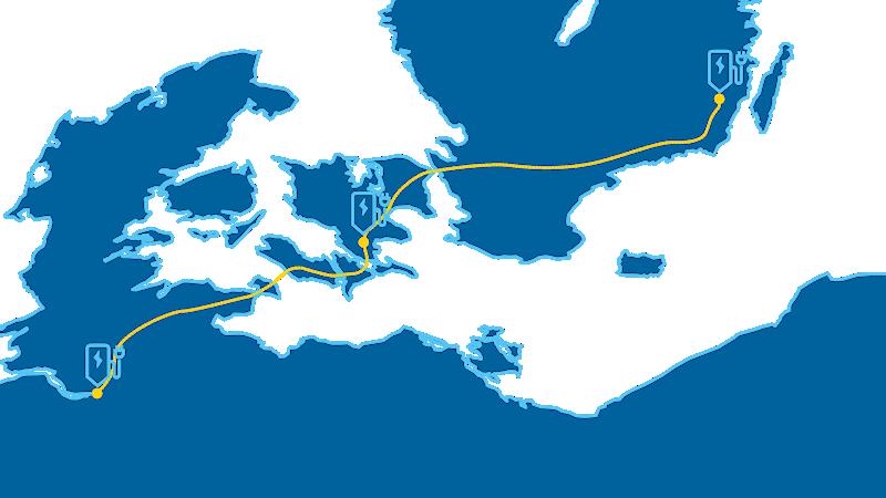 Mapa que muestra una ruta larga con estaciones de carga a lo largo del camino