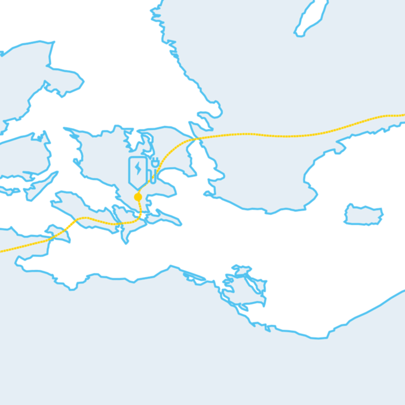 Illustration of a map showing Volkswagen electric vehicle charging and range.