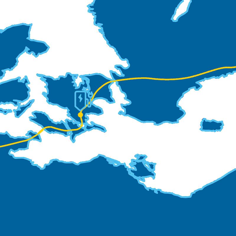 En karta med flera laddstationer utmärkta.