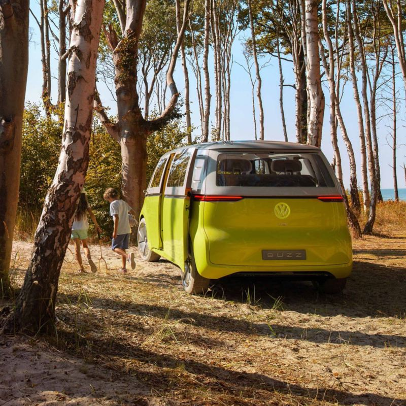 Vista posteriore ID. Buzz VW nel bosco