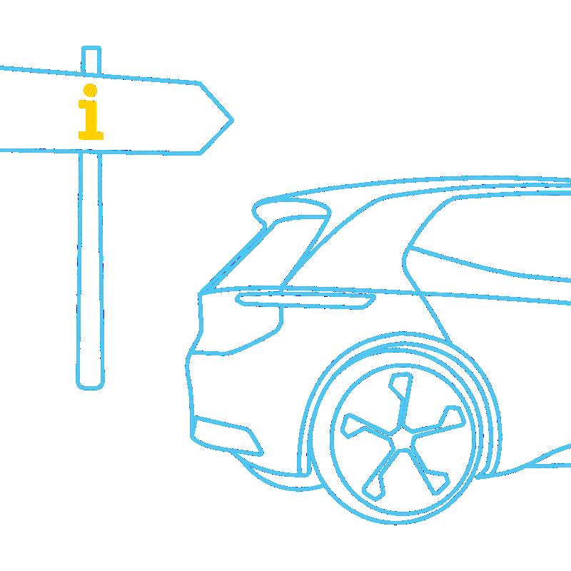 Elektrische auto met wegwijzer