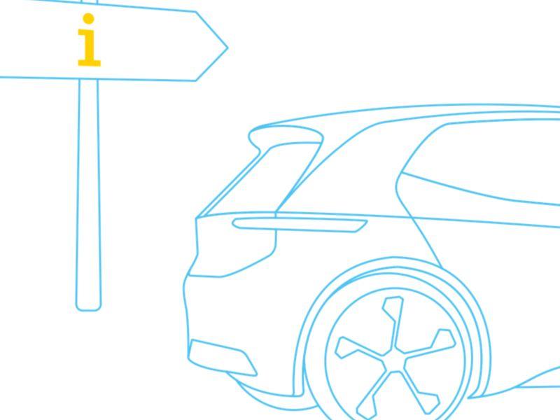 Elektroauto vor Informations-Wegweiser