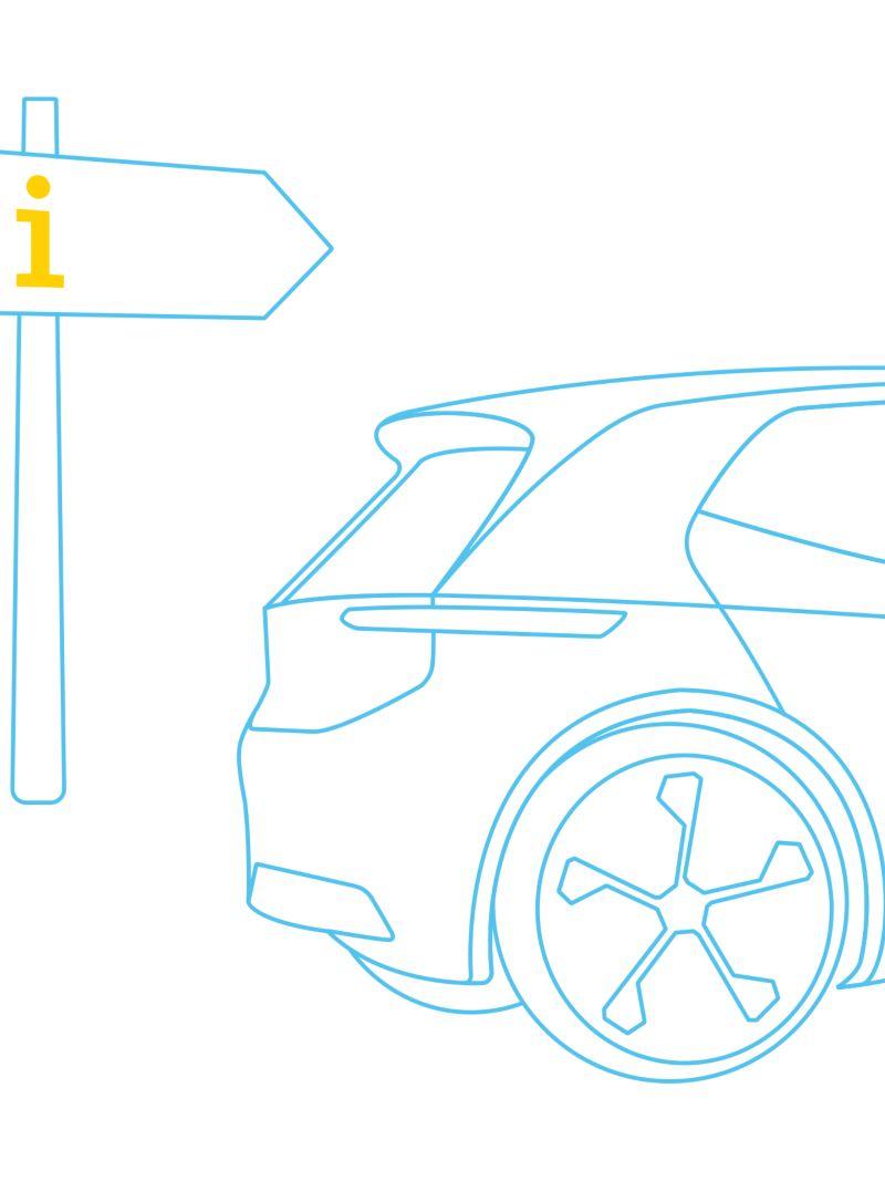 Vettura elettrica con segnale stradale.