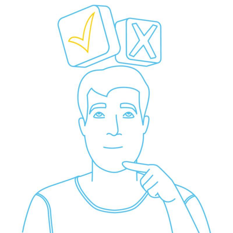 Illustration eines Mannes der Fragen zur Elektromobilität hat