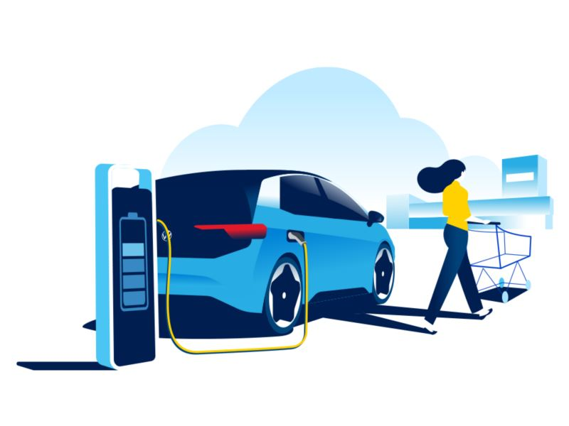 Illustration of a Volkswagen electric vehicle charging in a retail carpark.