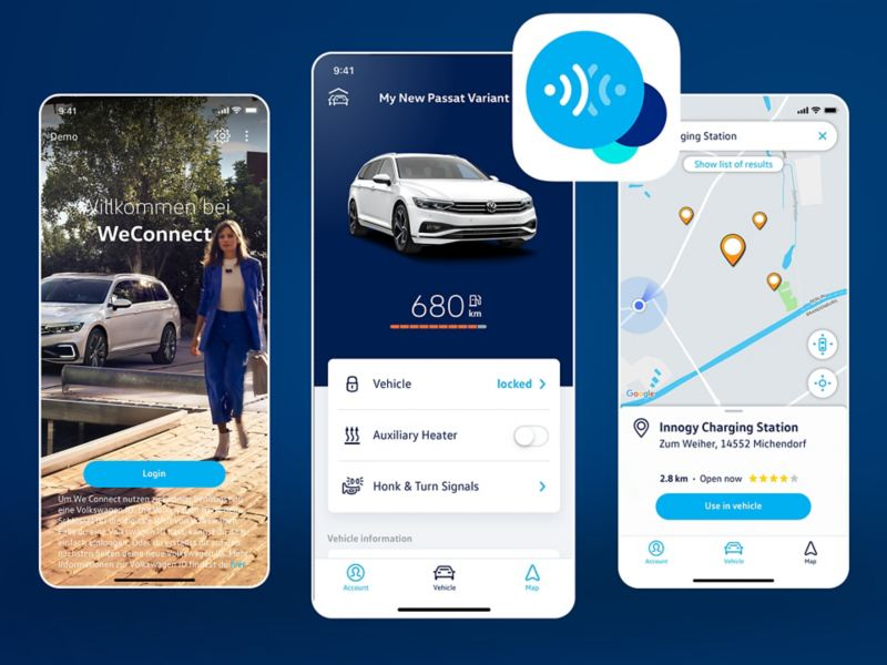 Alcune schermate dell'app We Connect Volkswagen.