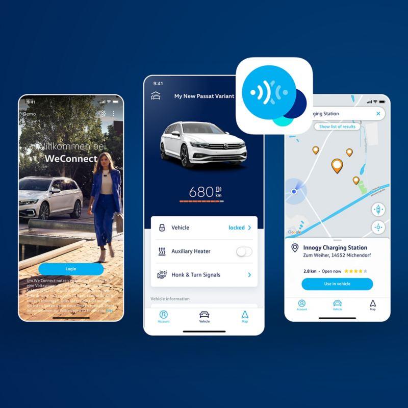 3 Handy-Screens mit We Connect App vor dunkelblauem Hintergrund
