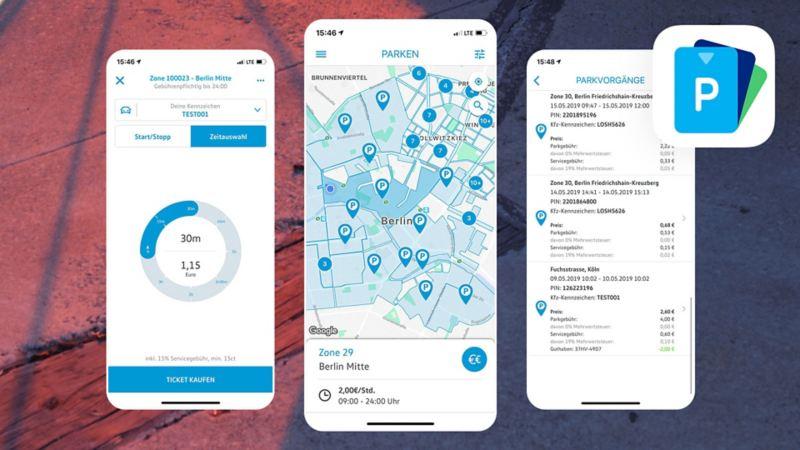 3 Bildschirme der We Park App
