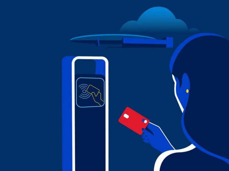 Gráfico de pago de carga eléctrica con tarjeta bancaria