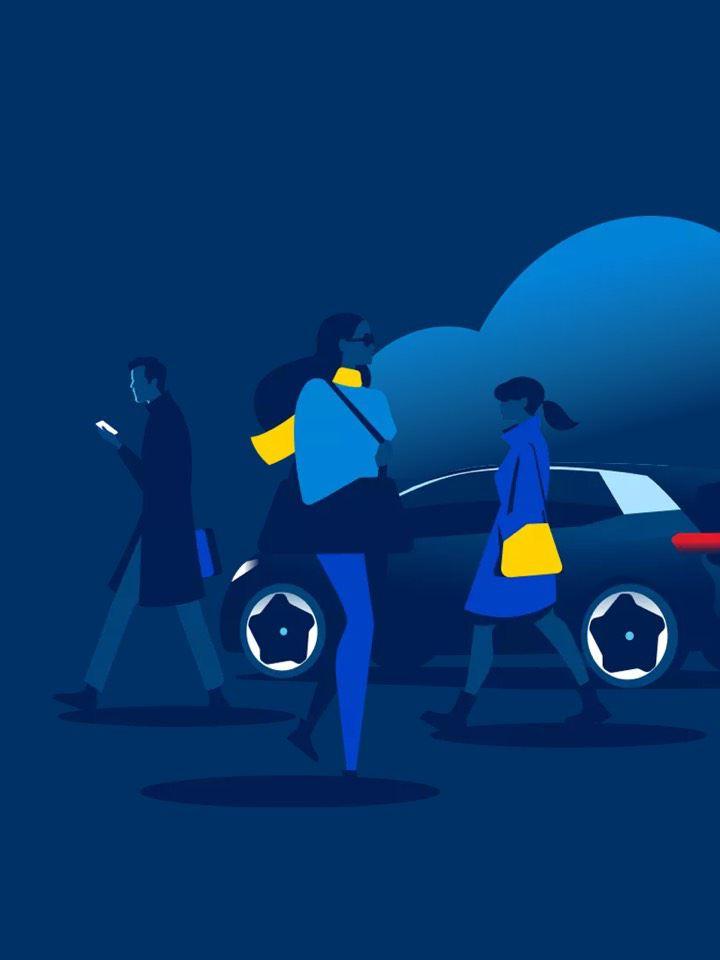 Ilustración de un grupo de gente andando por la calle frente a un vehículo de Volkswagen