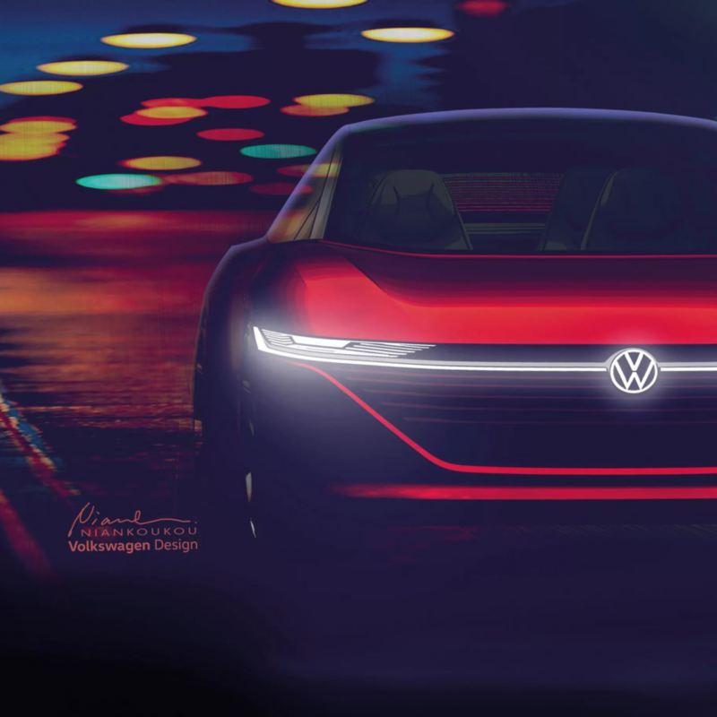 Vista parcial de la parrilla y un faro del Volkswagen ID. Vizzion de noche