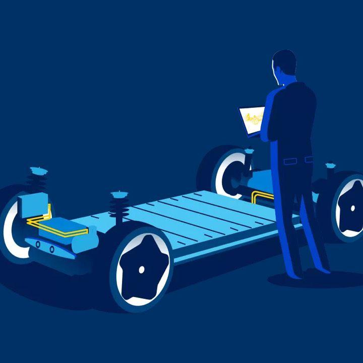 Gráfico en azul de la plataforma MEB de Volkswagen
