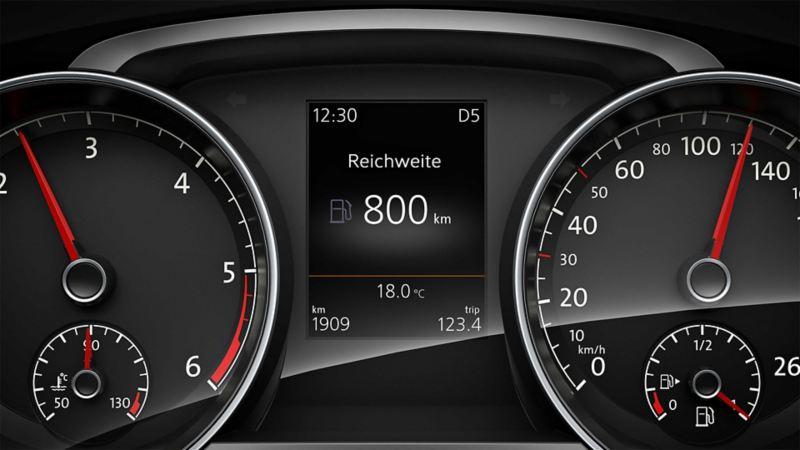 Detailabbildung des Bordcomputers in einem Volkswagen