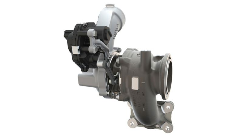 Turbocharger in front of a white background