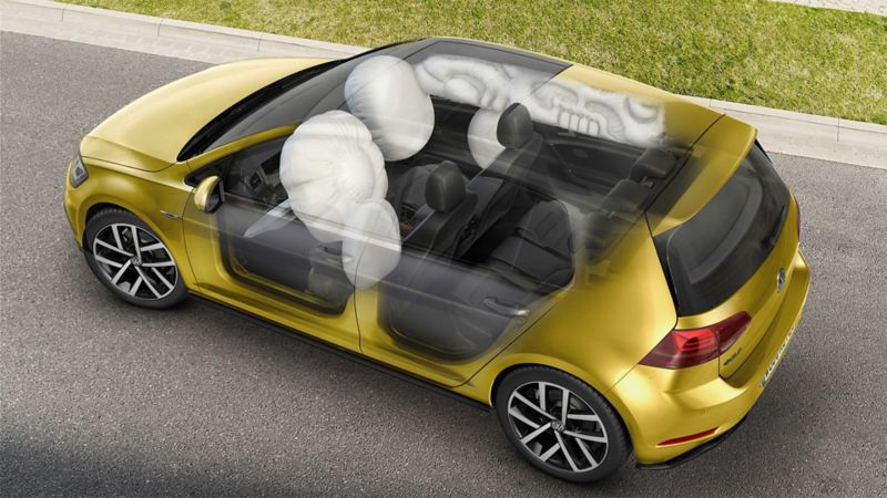 Schematic diagram of two curtain airbags in a Golf