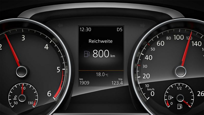 Image detail of the on-board computer in a Volkswagen