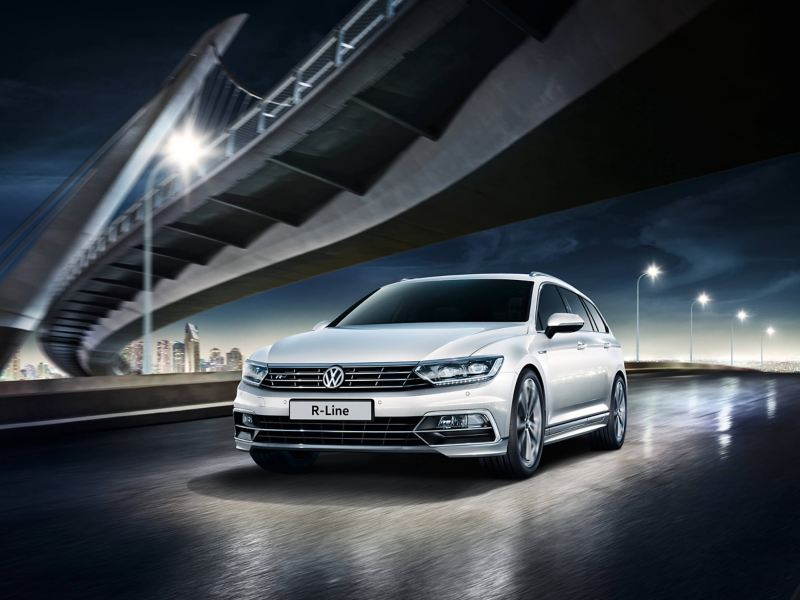 Volkswagen R-Line parked under a bridge