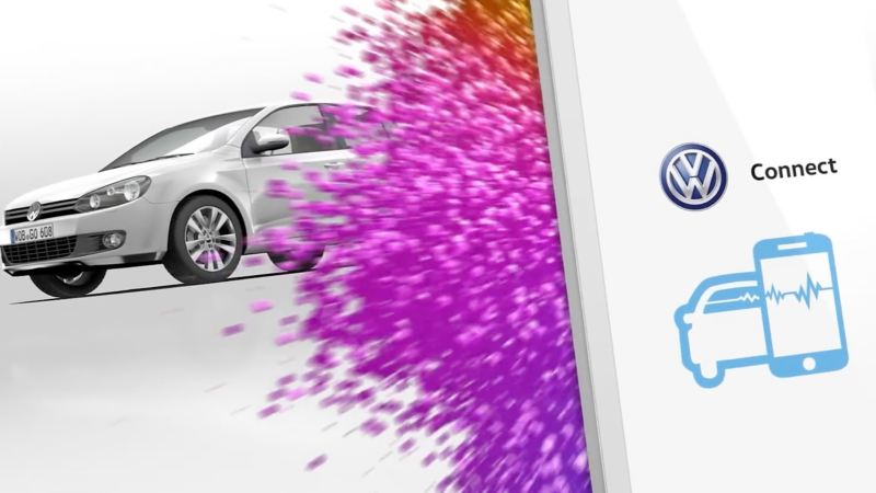 Volkswagen Connect, car and phone icon, with a white Volkswagen Golf in the background.