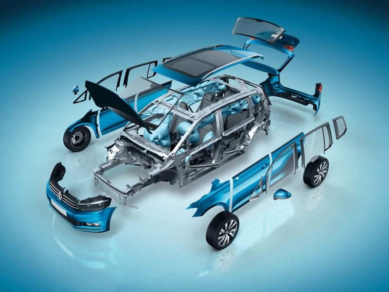 Deconstructed Volkswagen chassis.