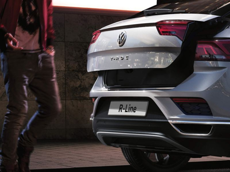 Rear boot shot of a silver Volkswagen T-Roc.