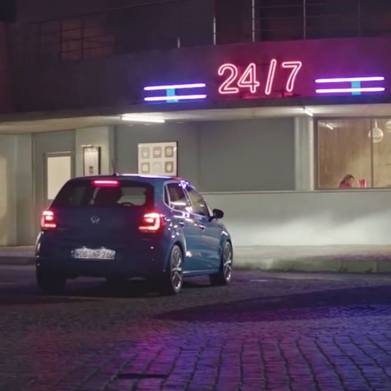 Volkswagen car parked outside a service station restaurant