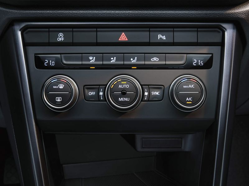 Air conditioning settings on the in-car dashboard.