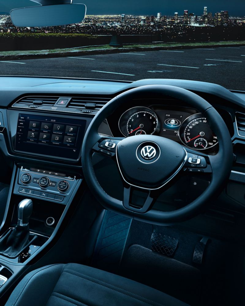 Steering wheel shot of a Volkswagen.