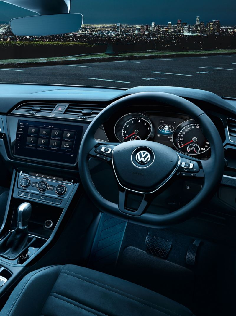 Steering wheel shot of a Volkswagen.