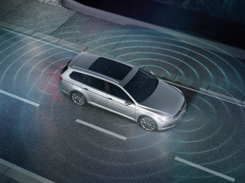Visualisation of parking sensors around a car