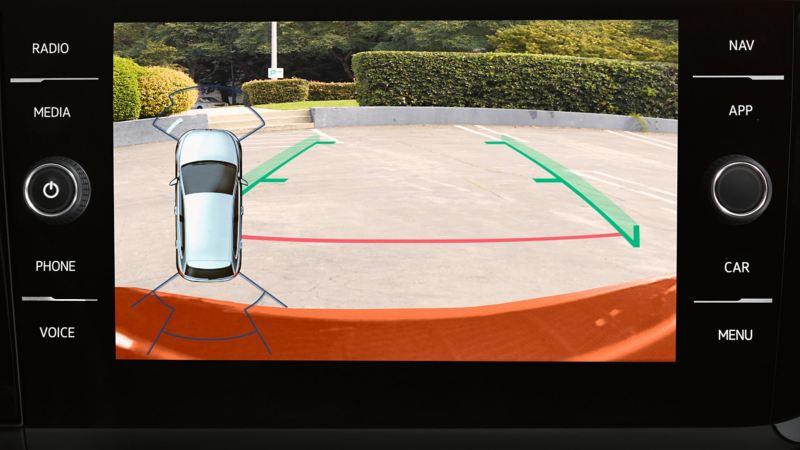 Screen showing Parking Sensor display