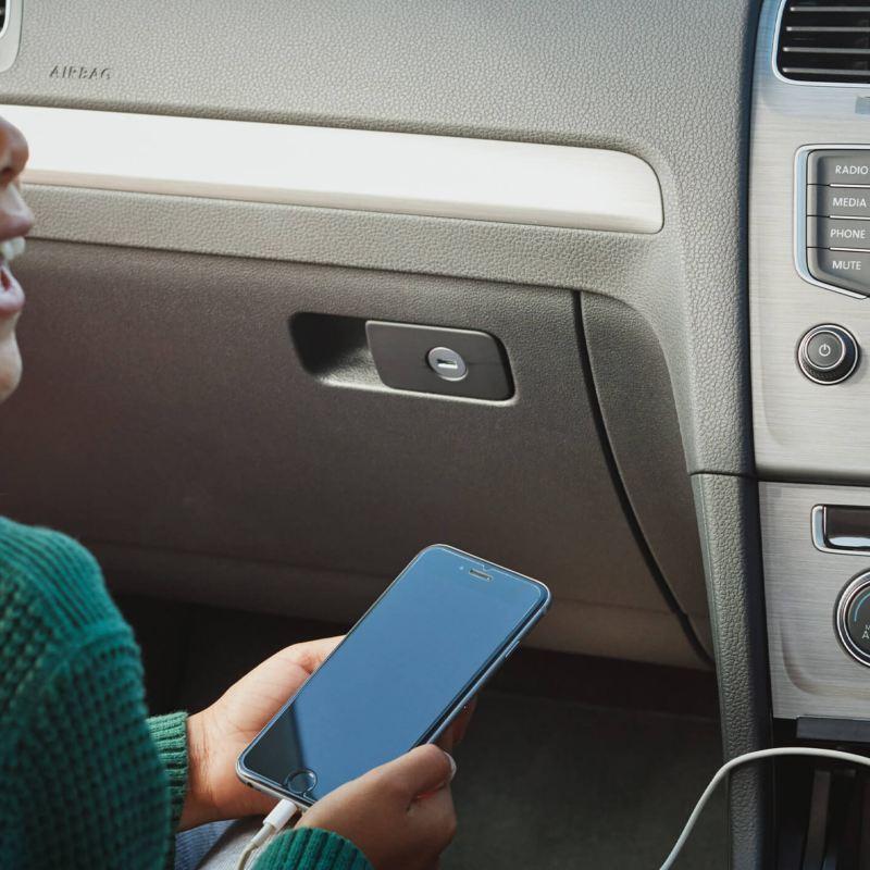 Girl on phone in car