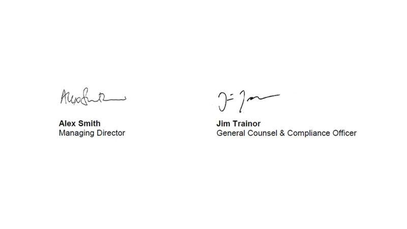 Signature of signees