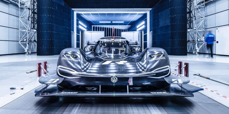 The Volkswagen ID.R in the wind tunnel