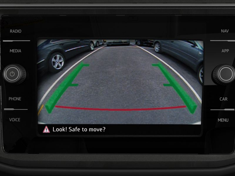 rearview camera in action in the Tiguan