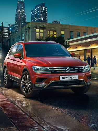 red vw tiguan exterior front view